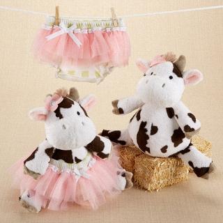 【BabyAspen】BAS 可愛乳牛娃娃玩偶+包屁褲紗裙 彌月禮物組(#BA15065NA)
