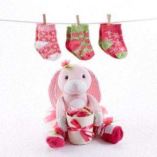 【BabyAspen】BAS 粉紅芭蕾兔襪子 彌月禮盒組 #BA15067NA