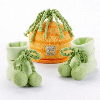 【BabyAspen】BAS 農村田野南瓜針織帽+腳套 兩件彌月禮物組(#BA15050NA)