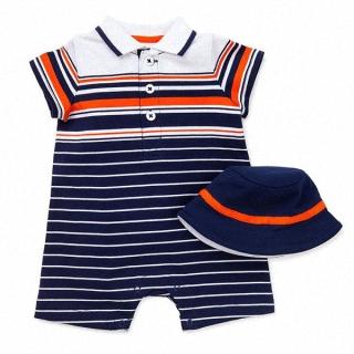 【Little Me】橘藍條紋短袖連身裝+遮陽帽 套裝2件組(#LLR02163N)