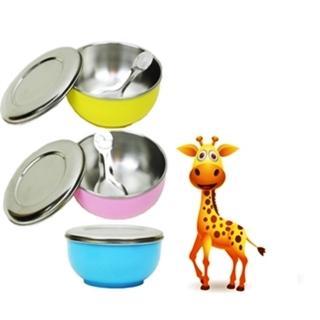 【台灣不鏽鋼隔熱碗】雙層幼兒隔熱碗x3入/不鏽鋼碗蓋附湯匙附贈密封蓋(3色出貨)