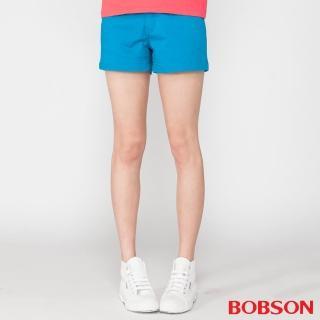 【BOBSON】女款彈性色布短褲(藍206-53)