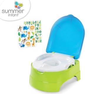 【美國 Summer Infant】3合1兒童馬桶練習組(藍綠色)
