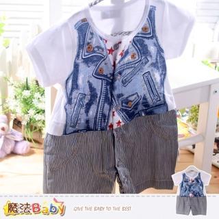【魔法Baby】連身衣-百貨專櫃正品寶寶夏季純棉包屁衣-嬰兒服(k35193)