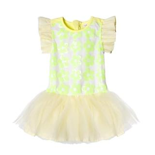【baby童衣】洋裝 女童紗裙短裙 手工亮片花朵42144(淡黃)