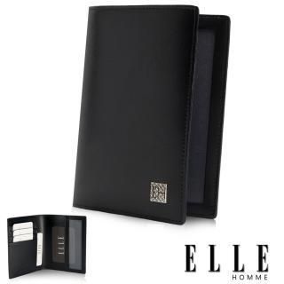 【ELLE HOMME】法式短夾 嚴選義大利皮革、證件多層設計短夾(黑EL81811-02)