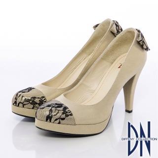 【DN】精緻手工 蕾絲蝴蝶結金蔥高跟鞋(金)