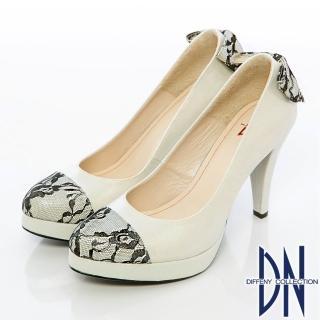 【DN】精緻手工 蕾絲蝴蝶結金蔥高跟鞋(銀)