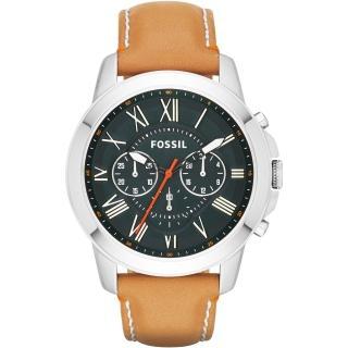 【FOSSIL】古典伯爵三環計時腕錶-深綠(FS4918)