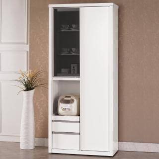 【H&D】卡尼爾6尺高拉門白色餐櫃/收納櫃
