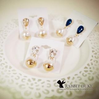 【RD 兔子公爵】現貨 經典歐美風格 個性寶鑽大珍珠拼接金屬耳環(三色)