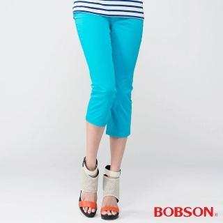 【BOBSON】女款刺繡鑽飾七分褲(藍212-50)