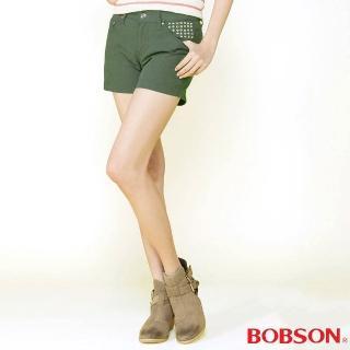 【BOBSON】女款燙貼圓鋁色布短褲(軍綠211-41)