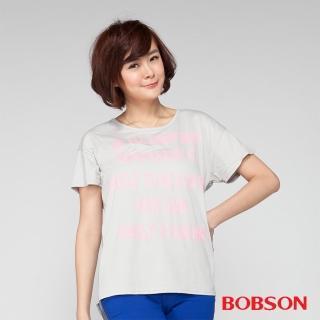 【BOBSON】女款印圖接雪紡短袖上衣(灰24084-82)