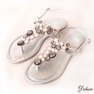 【☆Deluxe☆】微風夏日-清涼微露Y字黑白圓水晶夾腳涼鞋(★銀)