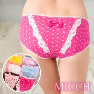 【MICCH】蝶舞蕾絲 田園純棉三角內褲