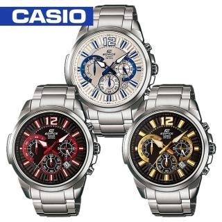 【CASIO 卡西歐 EDIFICE 系列】日系搶眼設計三眼賽車腕錶(EFR-535D)