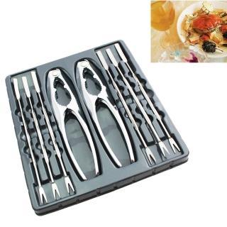 【PUSH!餐具】不銹鋼吃螃蟹工具蟹夾蟹具核桃夾家庭餐廳適用(8件套)