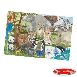 【美國瑪莉莎 Melissa & Doug】大型地板拼圖-保育類動物(48片)