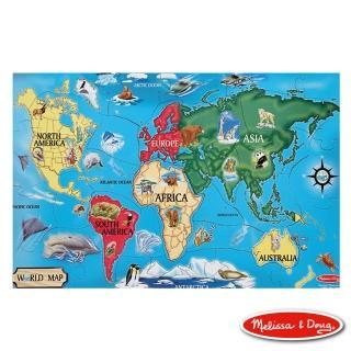 【美國瑪莉莎 Melissa & Doug】大型地板拼圖-世界地圖(33片)