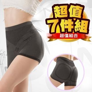 【JS嚴選】台灣製輕機能輕塑竹炭中腰無縫四角褲(超值七件L)
