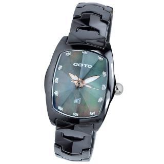 【GOTO】簡約晶鑽陶瓷腕錶(黑x銀色指針)