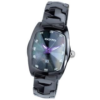 【GOTO】簡約晶鑽陶瓷腕錶(黑x紫色指針)