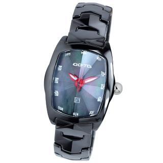 【GOTO】簡約晶鑽陶瓷腕錶(黑x紅色指針)