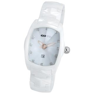 【GOTO】簡約晶鑽陶瓷腕錶(白x玫瑰金色指針)