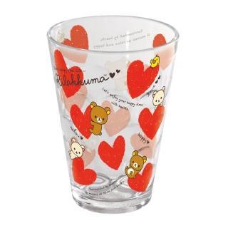 【San-X】拉拉熊紅粉愛心系列透明立體塑膠水杯。紅愛心