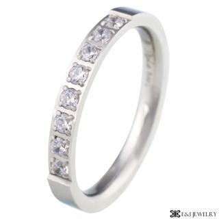 【E&I】-幸福氛圍- 316L白鋼時尚排鑽戒指