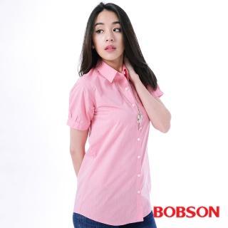 【BOBSON】女款素面長版短袖襯衫(粉24131-13)