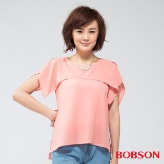 【BOBSON】女款雪紡紗短袖上衣(粉桔24096-23)