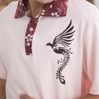 【Jimmy&Wang】男生中國風鳳凰粉色POLO衫(網)