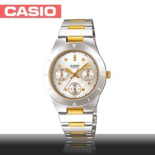 【CASIO 卡西歐】三眼造型半金氣質淑女錶(LTP-2083SG)