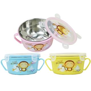 【Jump2 monkey跳跳猴】不鏽鋼雙耳隔熱碗/幼兒學習隔熱碗x3入組(內附湯匙3色出貨)