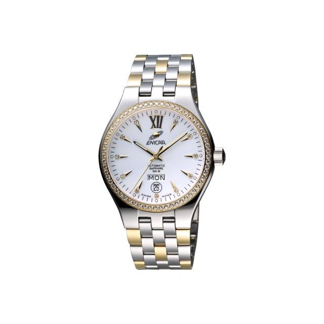 【ENICAR】英納格 傳真系列時尚晶鑽機械腕錶-白x雙色版/39mm(3168-50-316GS)