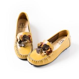 【ALAIN DELON】精緻手工縫線真皮娃娃鞋W7435(2色 黃色 黑色)