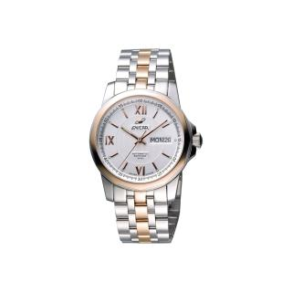 【ENICAR】英納格 羅馬經典日曆機械腕錶-銀x雙色版/39mm(168-51-326G)