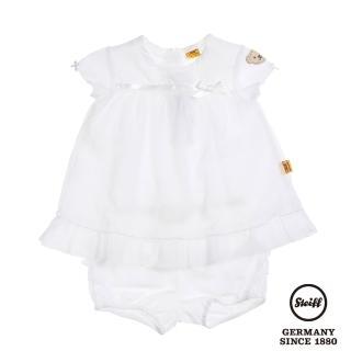 【STEIFF德國精品童裝】短袖 二件式套裝 公主白(連身洋裝/褲)