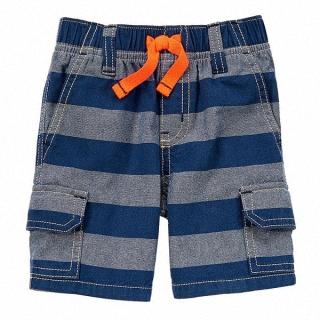 【Gymboree】條紋雙口袋腰頭鬆緊牛仔短褲 #140125862