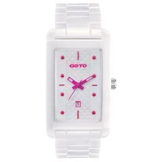 【GOTO】Unique 陶瓷時尚腕錶(白x桃)