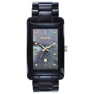 【GOTO】Unique 陶瓷時尚腕錶(黑x金)