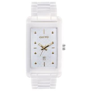 【GOTO】Unique 陶瓷時尚腕錶(白x金)