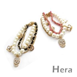 【Hera】赫拉 龐克多層滿鑽珍珠墜物手鍊(二色任選)