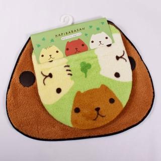 【kapibarasa】水豚君臉型浴用地墊(兩用)
