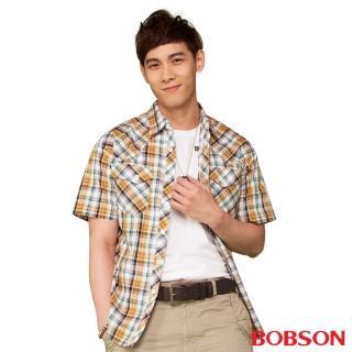 【BOBSON】男款腰身短袖襯衫(黃綠24003-30)