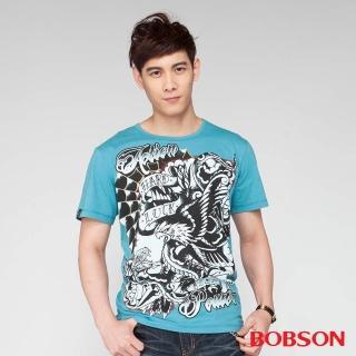 【BOBSON】男款印圖短袖上衣(水藍24033-47)