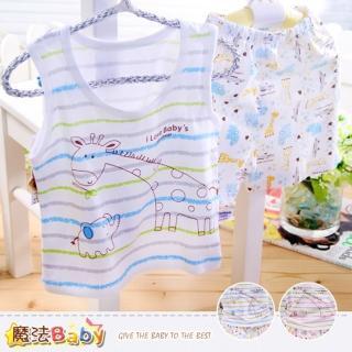 【魔法Baby】居家套裝 純棉背心加短褲套裝居家服睡衣(k35551)