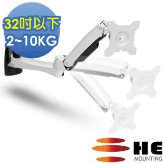 【HE】27吋以下LED/LCD鋁合金雙臂壁掛型互動螢幕架(H20ATW)